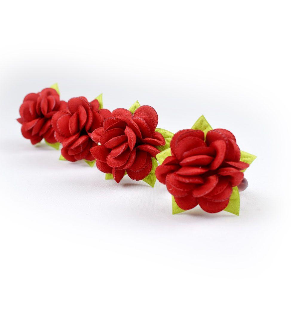 Anel Guardanapo Flores:  4 Peças Vermelho  - RECANTO DA COSTURA