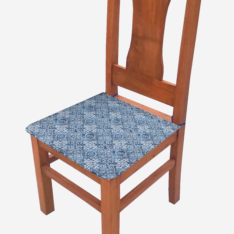 Assento De Cadeira 2 Unidades Azul Azulejo  - RECANTO DA COSTURA