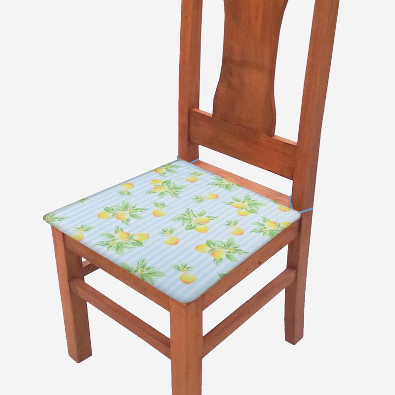 Assento De Cadeira 2 Unidades Azul Limão  - RECANTO DA COSTURA