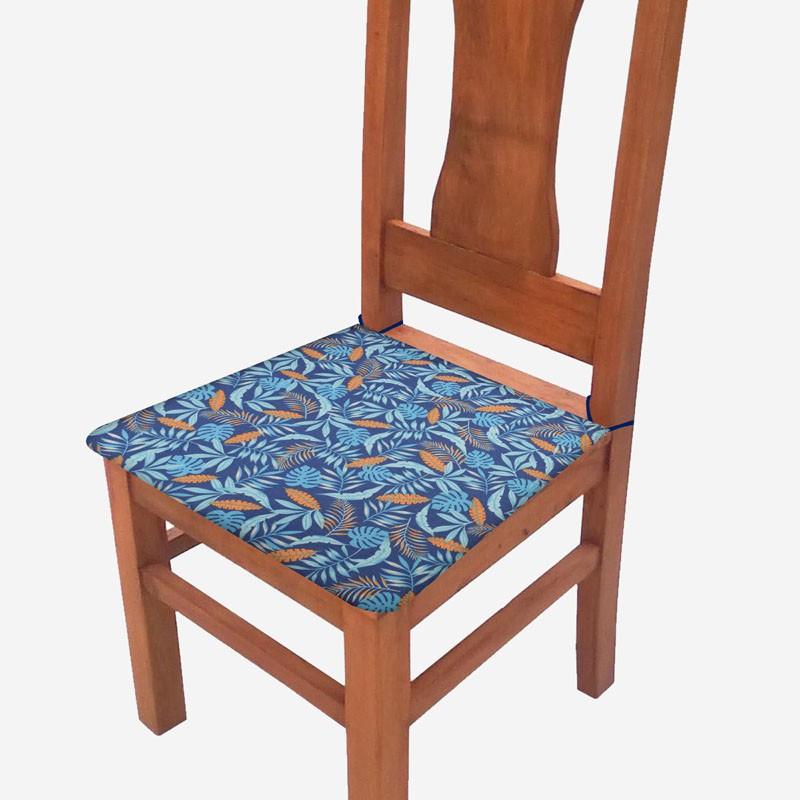 Assento De Cadeira 2 Unidades Azul Tropical  - RECANTO DA COSTURA