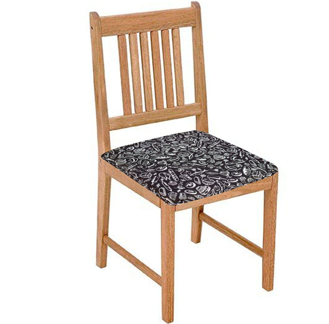 Assento De Cadeira 2 Unidades Preto E Branco  - RECANTO DA COSTURA