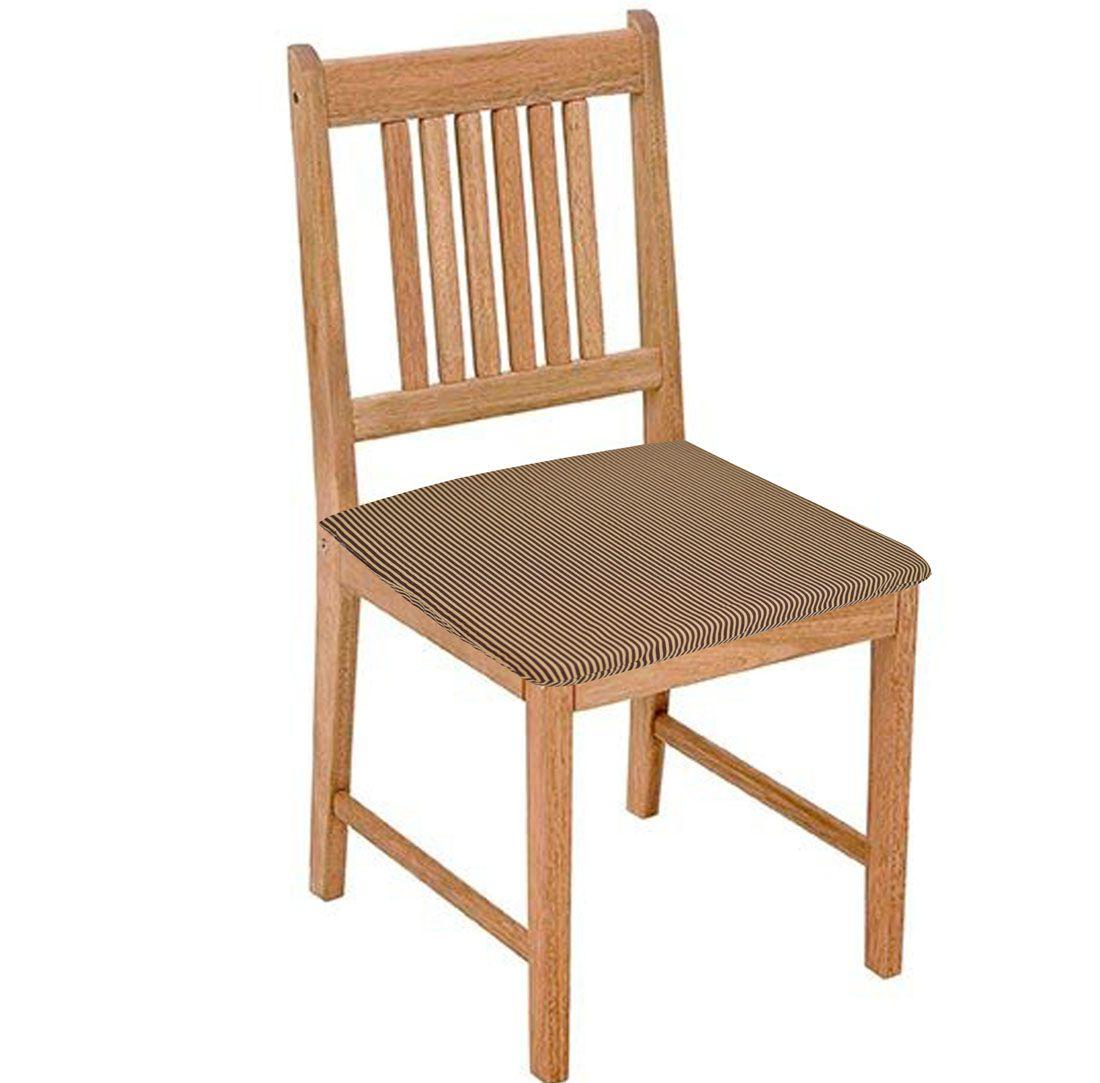 Assento De Cadeira Listra Marrom 2 Peças  - RECANTO DA COSTURA