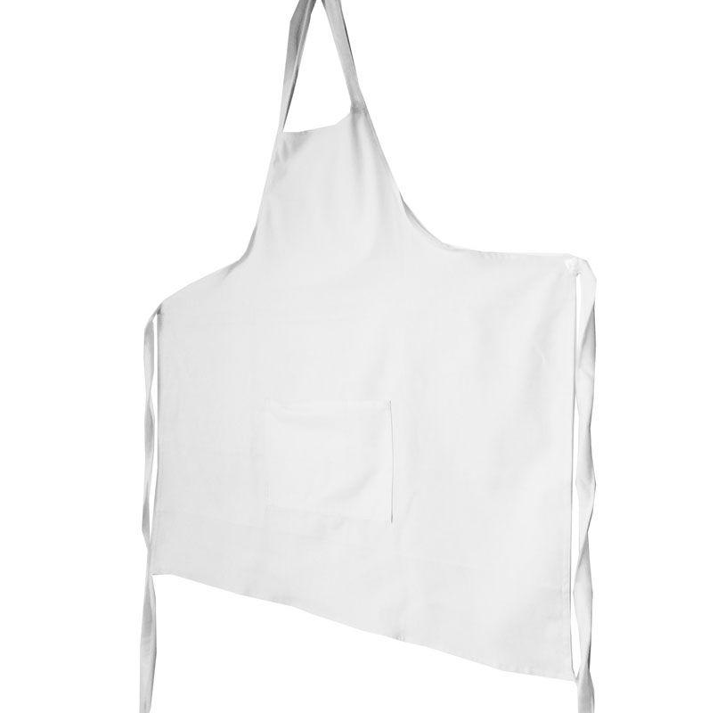 Avental Branco Liso De Brim Modelo Unissex  - RECANTO DA COSTURA