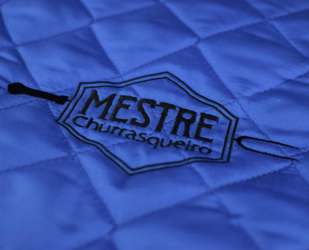 Avental Churrasco Mestre Churrasqueiro Grande Azul  - RECANTO DA COSTURA