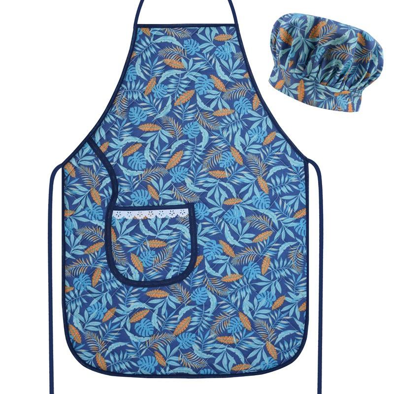 Avental com Touca Cozinheiro Azul Tropical  - RECANTO DA COSTURA