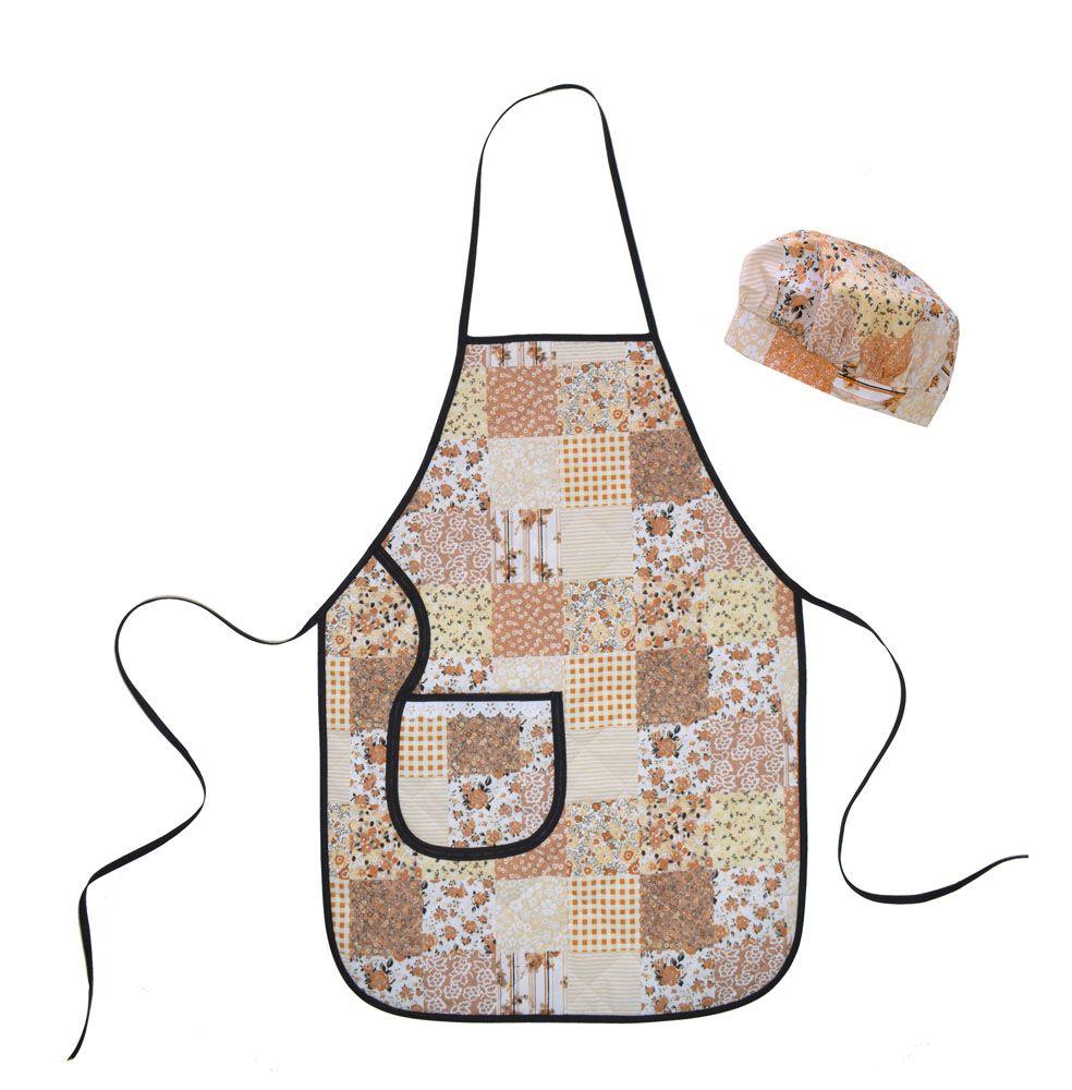 Avental com Touca Cozinheiro Patchwork  - RECANTO DA COSTURA