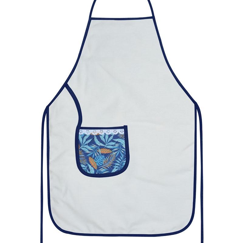 Avental De Cozinha Dupla Face Azul Tropical  - RECANTO DA COSTURA