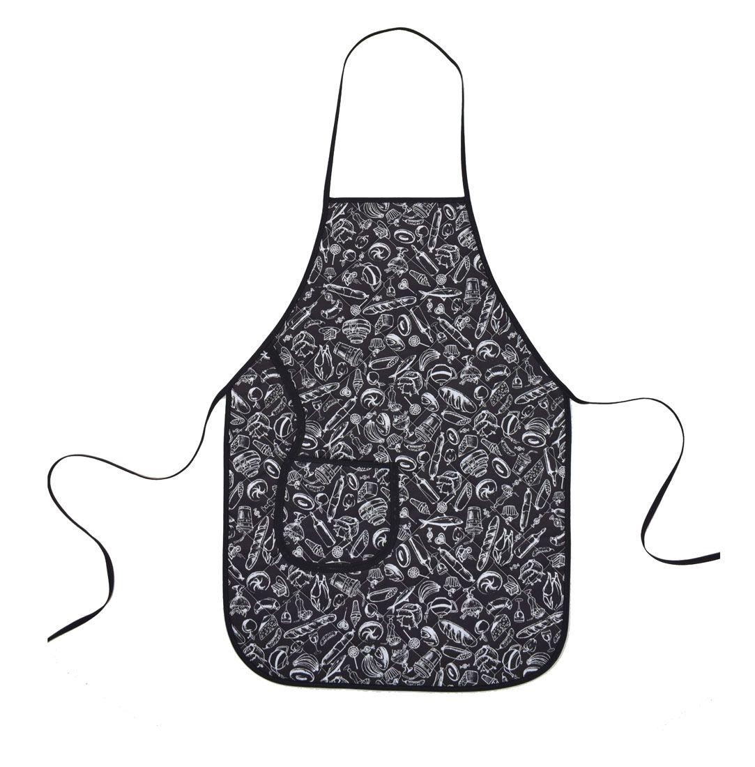Avental De Cozinha Dupla Face Preto E Branco  - RECANTO DA COSTURA