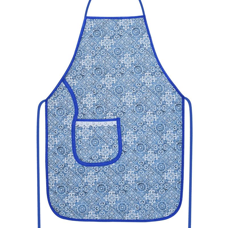 Avental De Cozinha Forro Tecido Azul Azulejo  - RECANTO DA COSTURA