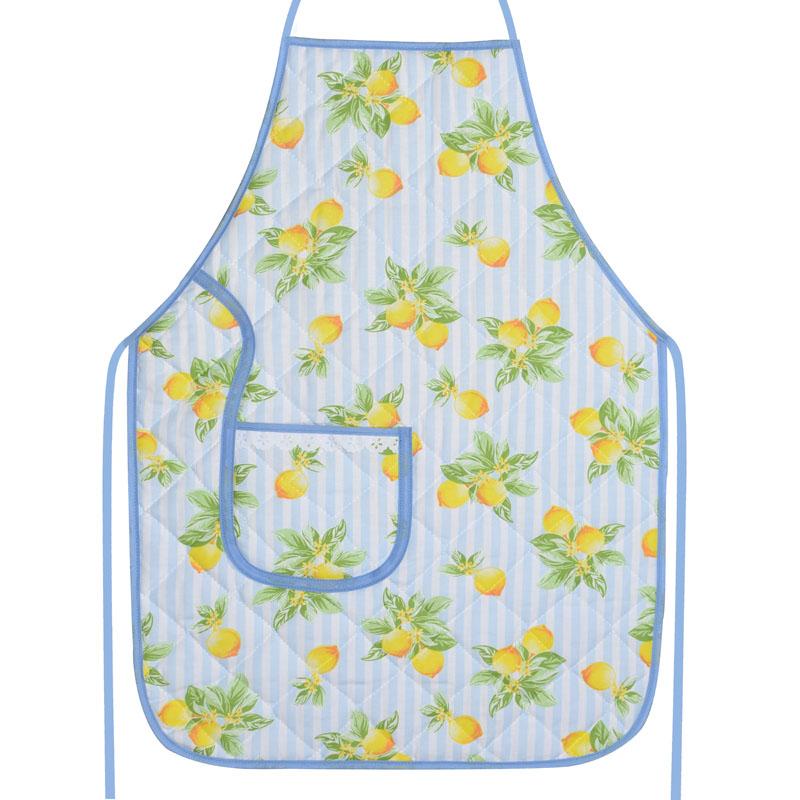 Avental De Cozinha Forro Tecido Azul Limão  - RECANTO DA COSTURA
