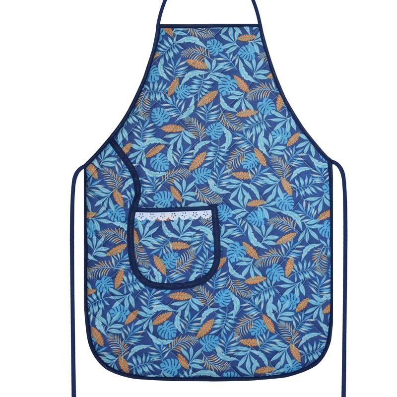 Avental De Cozinha Forro Tecido Azul Tropical  - RECANTO DA COSTURA