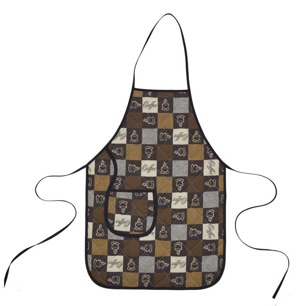 Avental De Cozinha Forro Tecido Café  - RECANTO DA COSTURA