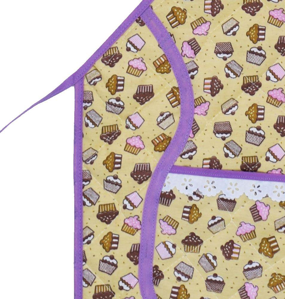 Avental De Cozinha Forro Tecido Cupcake  - RECANTO DA COSTURA