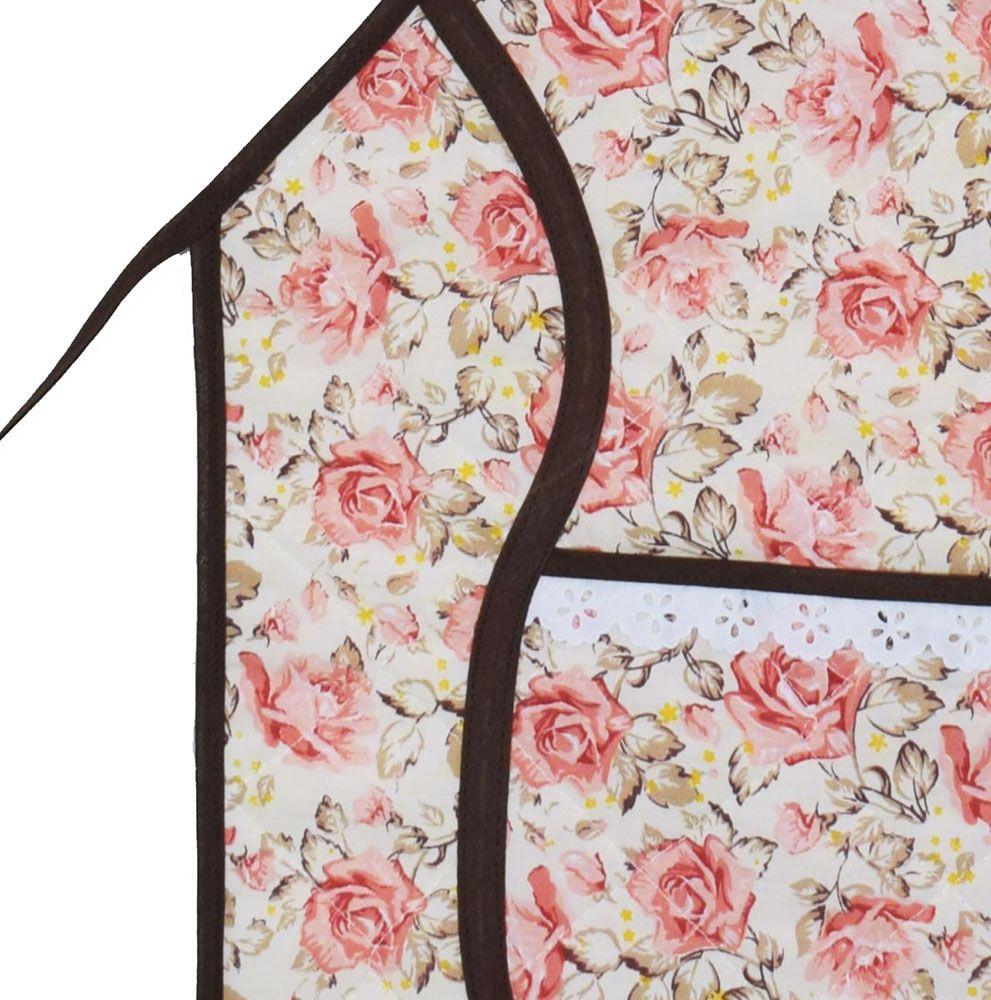 Avental De Cozinha Forro Tecido Floral  - RECANTO DA COSTURA