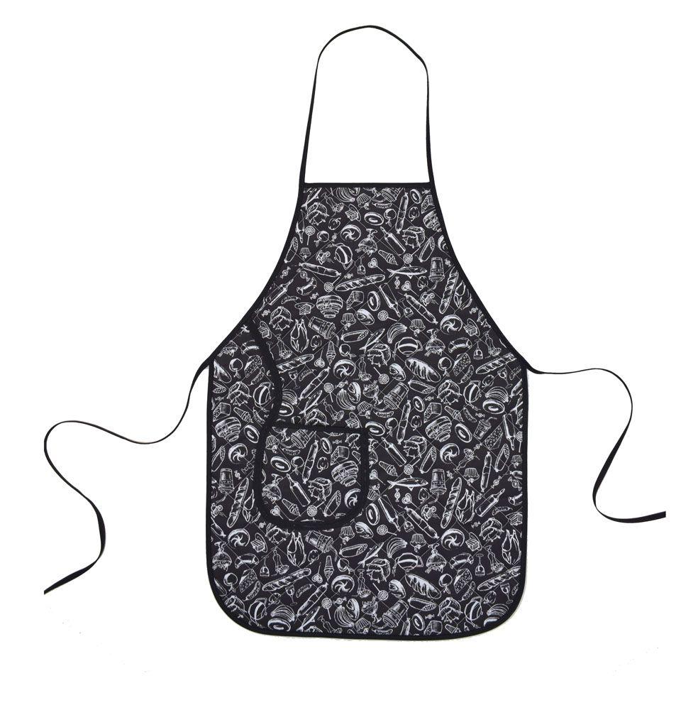 Avental De Cozinha Forro Tecido Preto E Branco  - RECANTO DA COSTURA