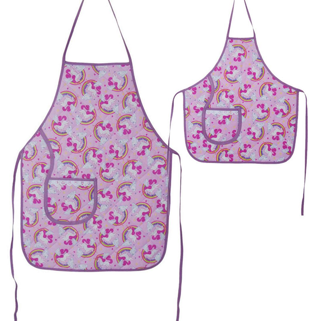 Avental De Cozinha Mãe E Filha Unicórnio Rosê  - RECANTO DA COSTURA