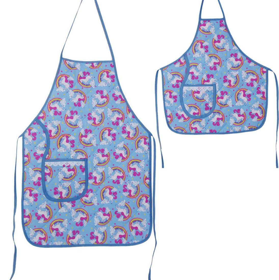 Avental De Cozinha Mãe E Filha Unicórnio Azul  - RECANTO DA COSTURA