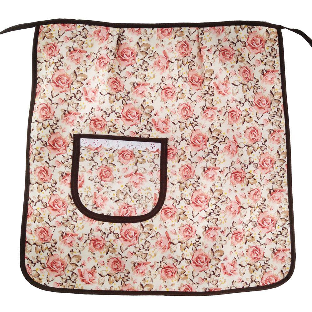 Avental de Cozinha Meio Corpo com Touca Floral  - RECANTO DA COSTURA