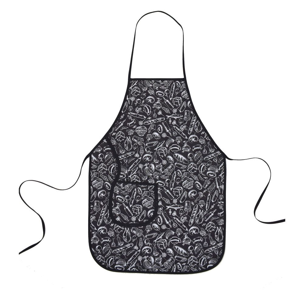 Avental De Cozinha Plastificado Preto E Branco  - RECANTO DA COSTURA