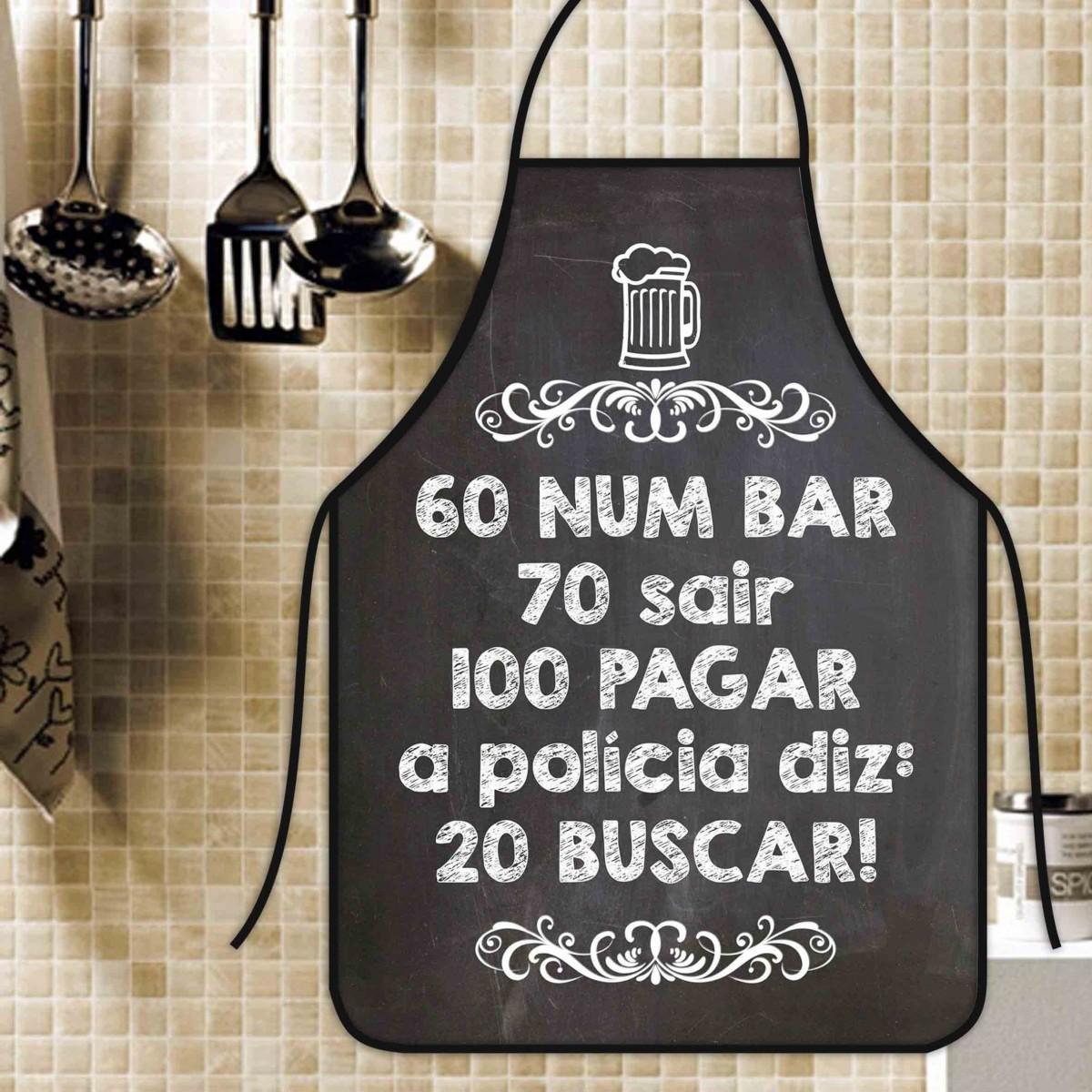 Avental Divertido E Personalizado: 60 Num Bar  - RECANTO DA COSTURA