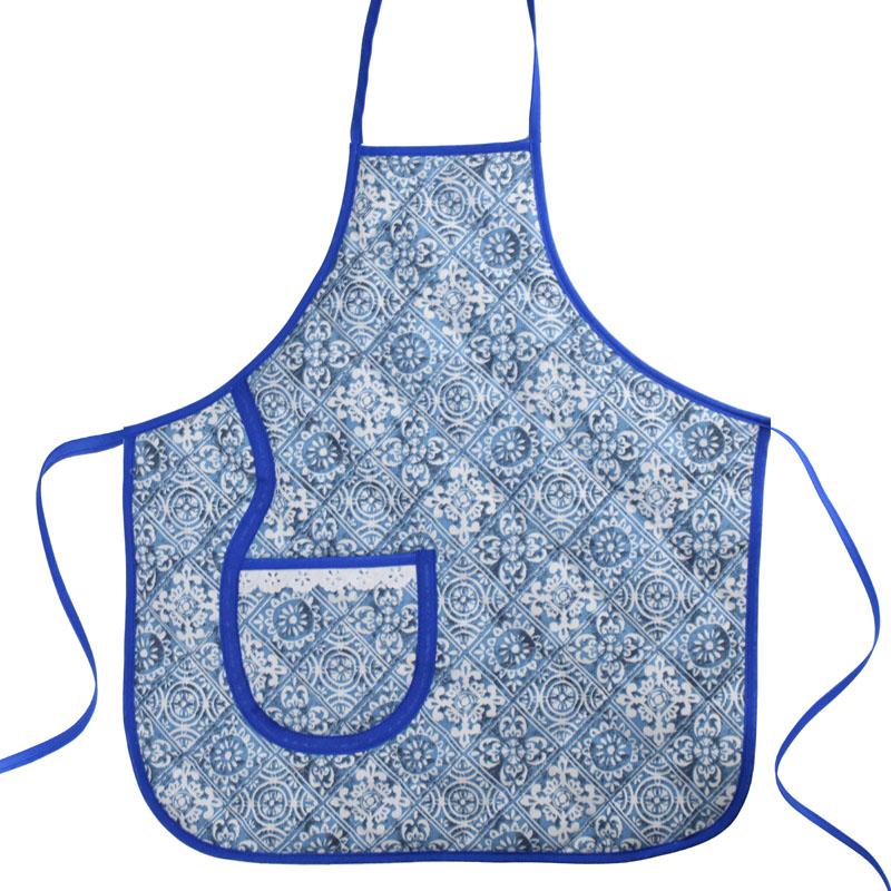 Avental Infantil Azul Azulejo  - RECANTO DA COSTURA