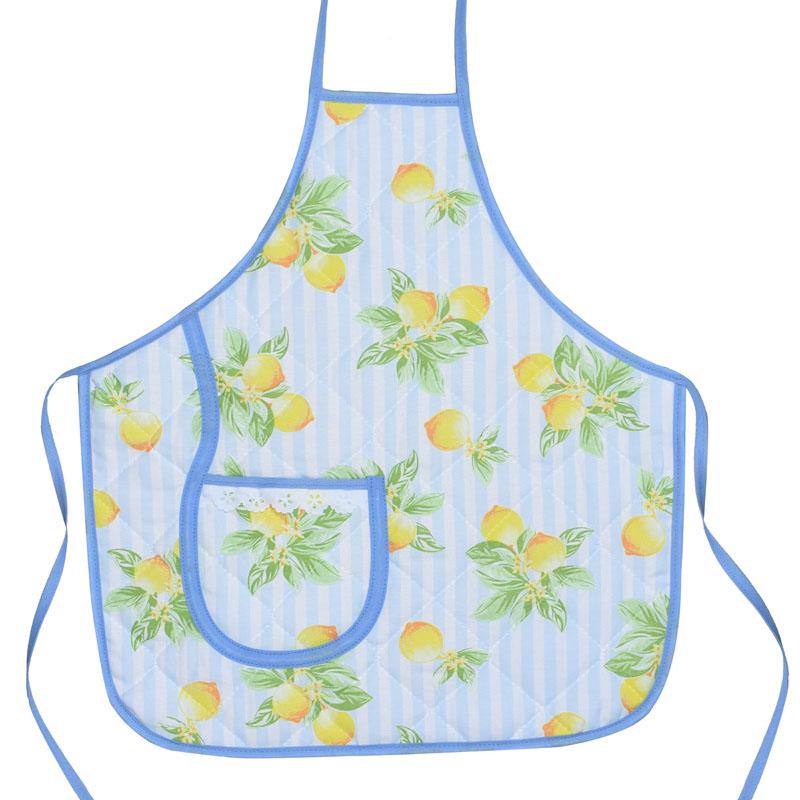 Avental Infantil Azul Limão   - RECANTO DA COSTURA