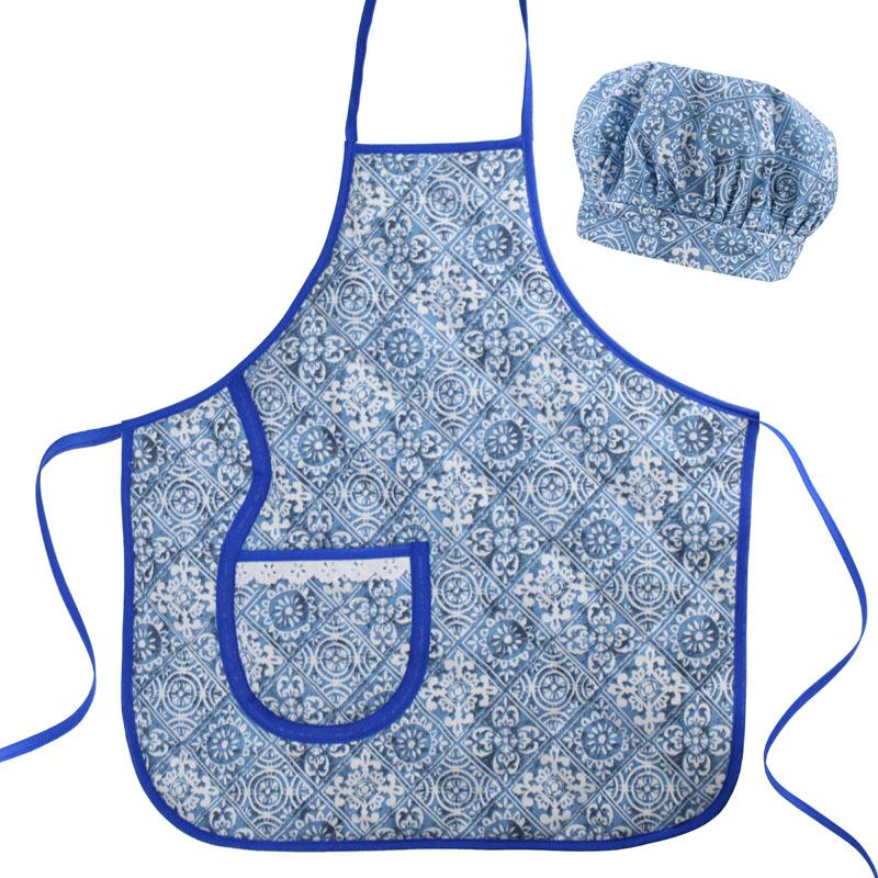 Avental Infantil Com Chapéu De Cozinheiro Azul Azulejo  - RECANTO DA COSTURA
