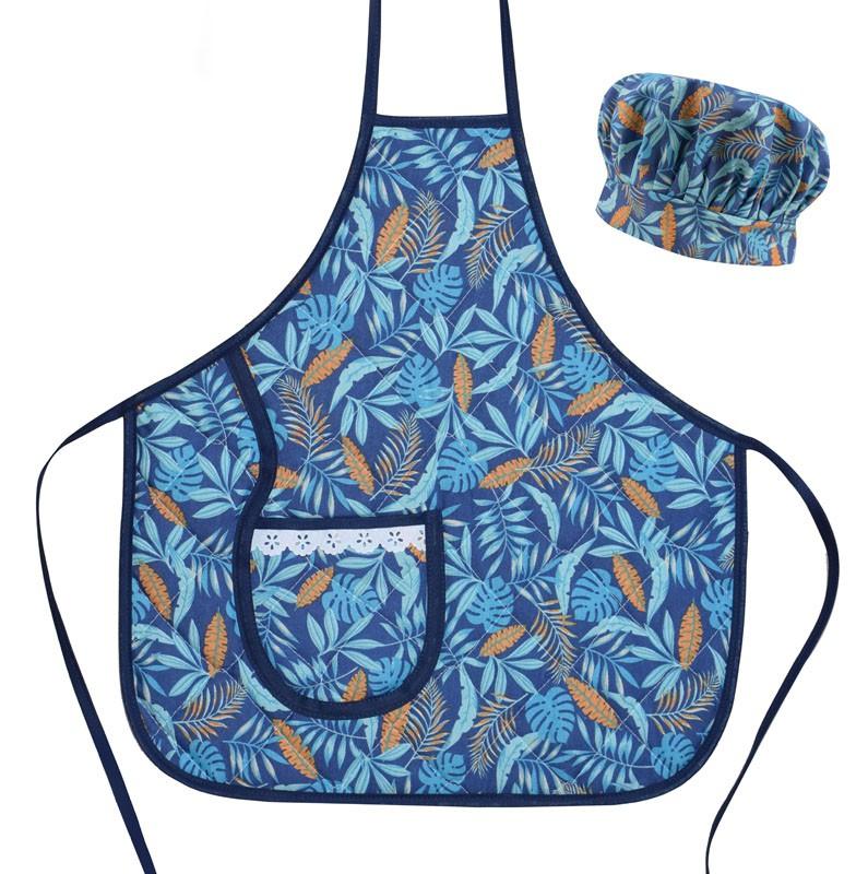 Avental Infantil Com Chapéu De Cozinheiro Azul Tropical  - RECANTO DA COSTURA