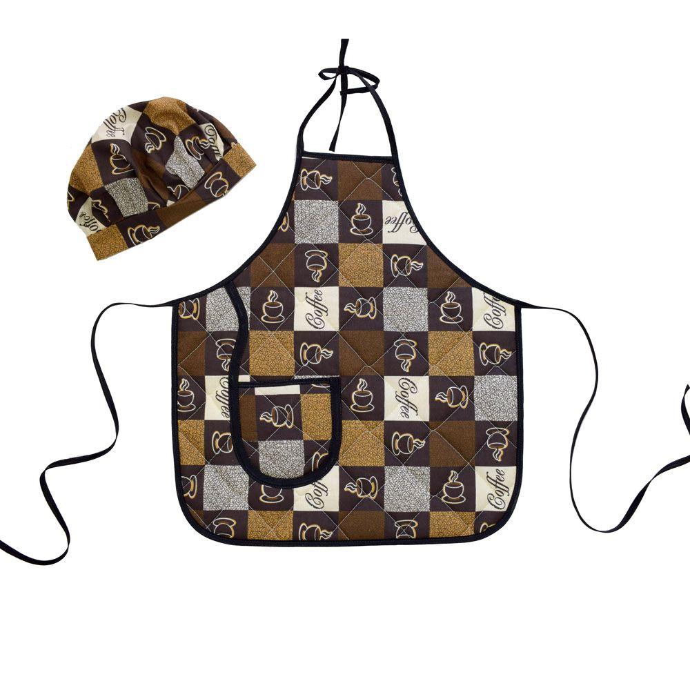 Avental Infantil Com Chapéu De Cozinheiro Café  - RECANTO DA COSTURA