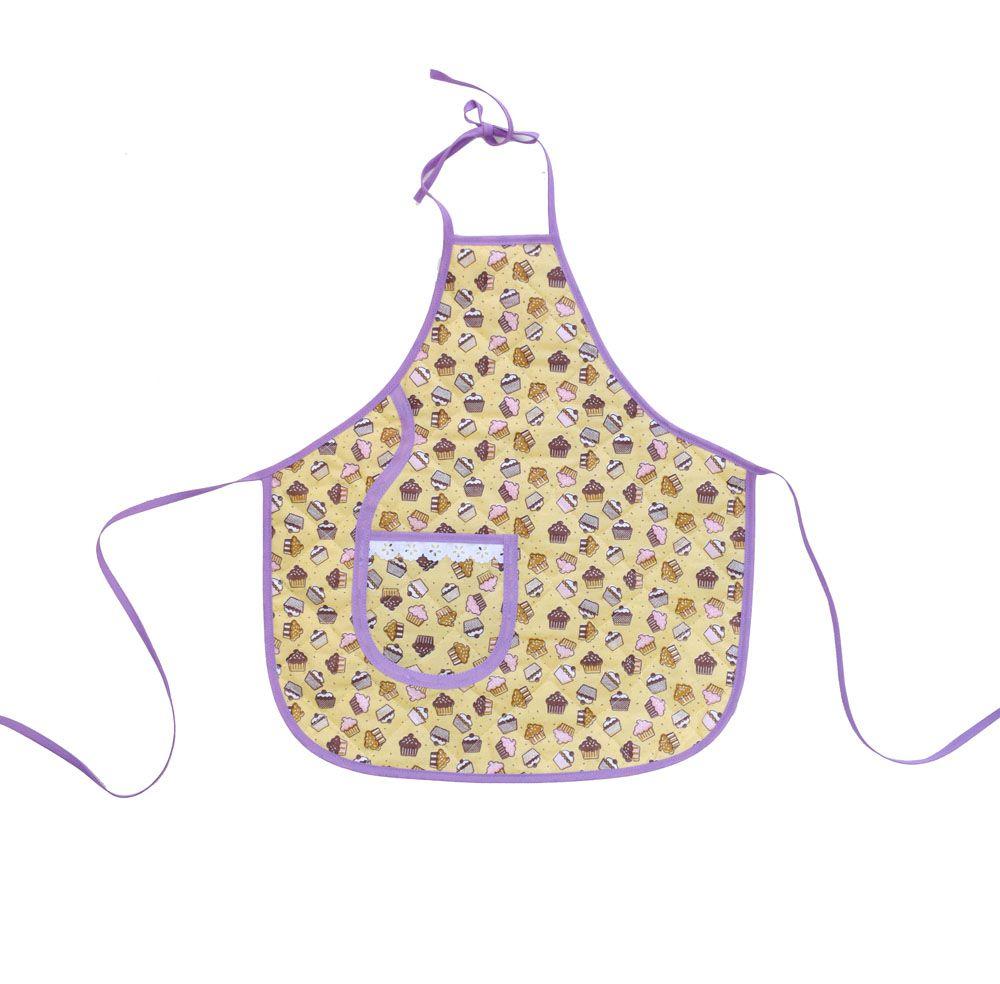 Avental Infantil Com Chapéu De Cozinheiro Cupcake  - RECANTO DA COSTURA