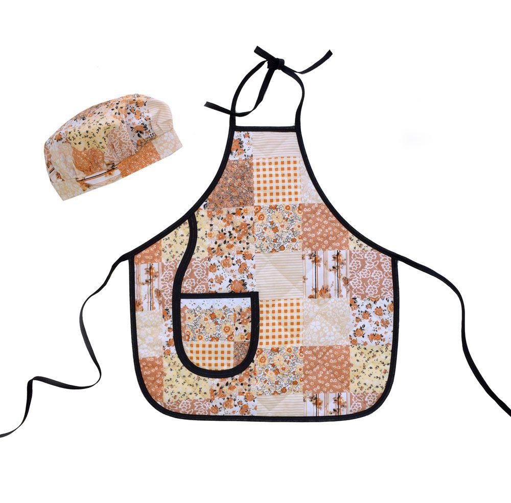 Avental Infantil Com Chapéu De Cozinheiro Patchwork  - RECANTO DA COSTURA