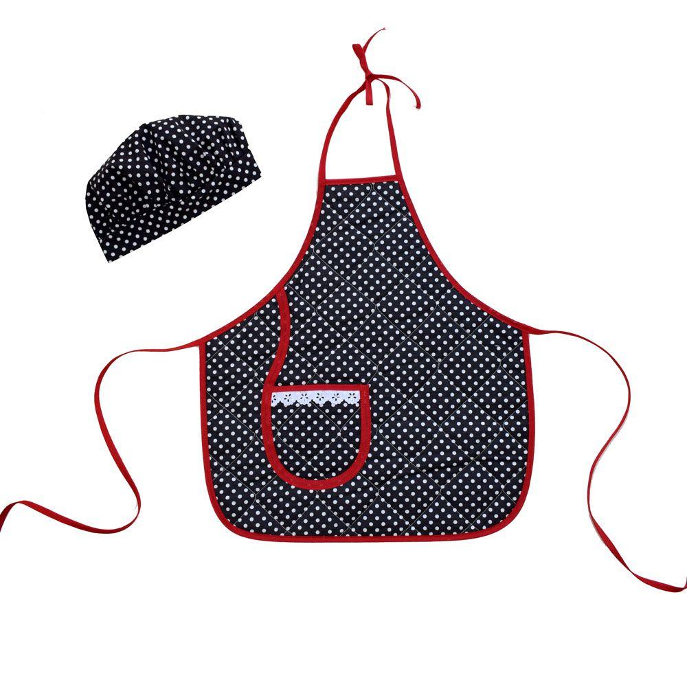Avental Infantil Com Chapéu De Cozinheiro Poá  - RECANTO DA COSTURA