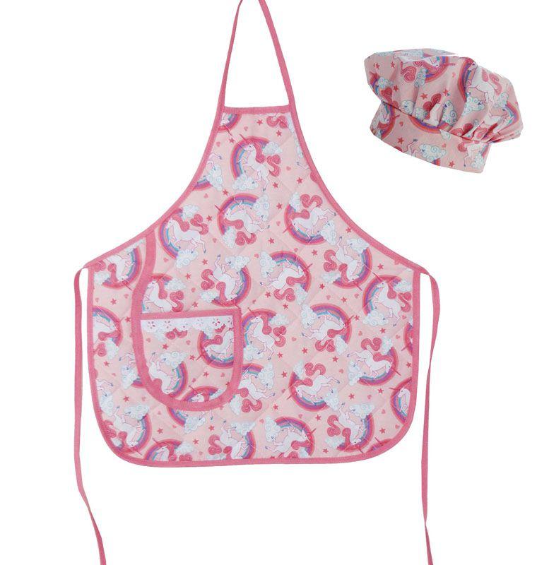 Avental Infantil Com Chapéu De Cozinheiro Unicórnio Rosa  - RECANTO DA COSTURA