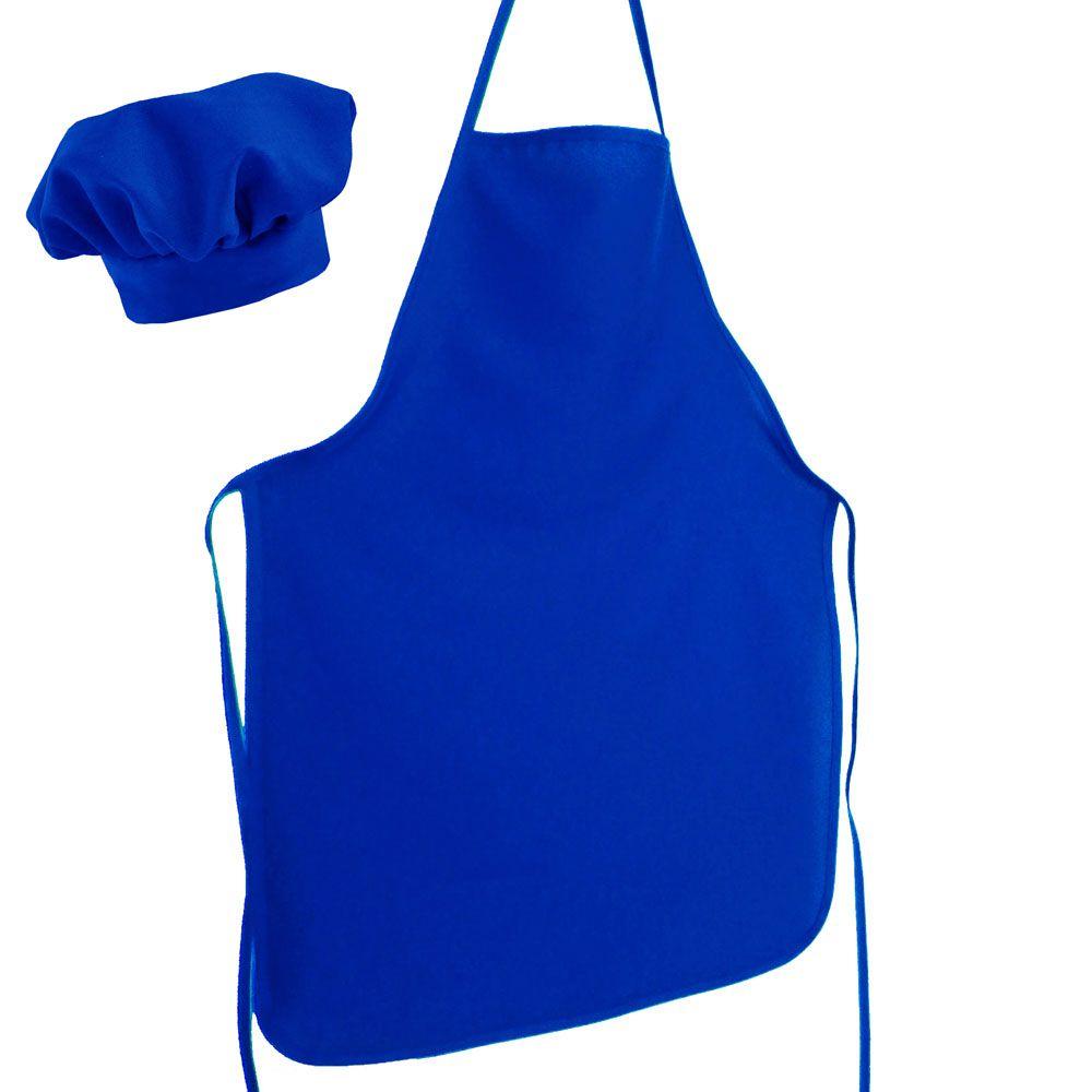 Avental Liso De Oxford Com Chapéu De Cozinheiro Azul  - RECANTO DA COSTURA