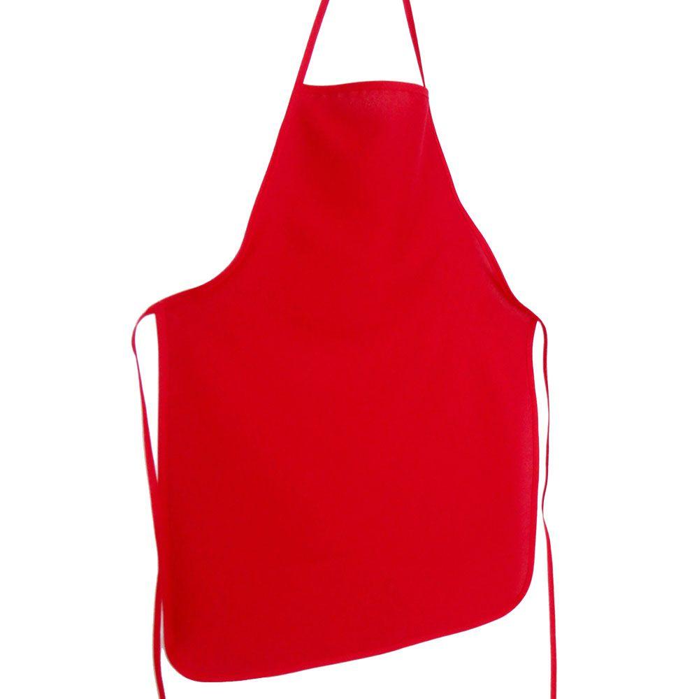 Avental Liso De Oxford Com Chapéu De Cozinheiro Vermelho  - RECANTO DA COSTURA