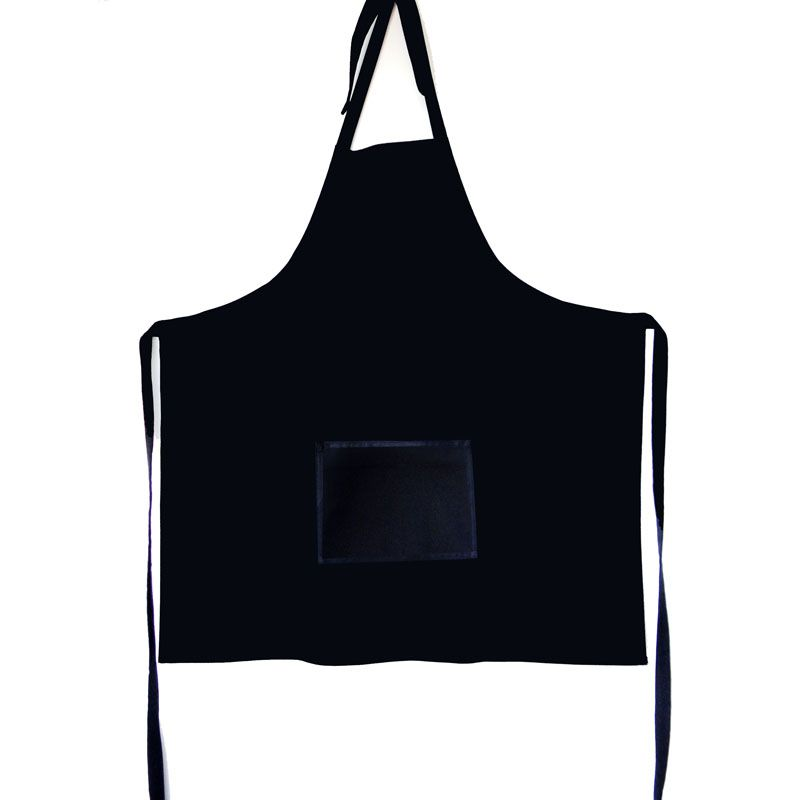 Avental Preto Liso De Brim Modelo Unissex  - RECANTO DA COSTURA