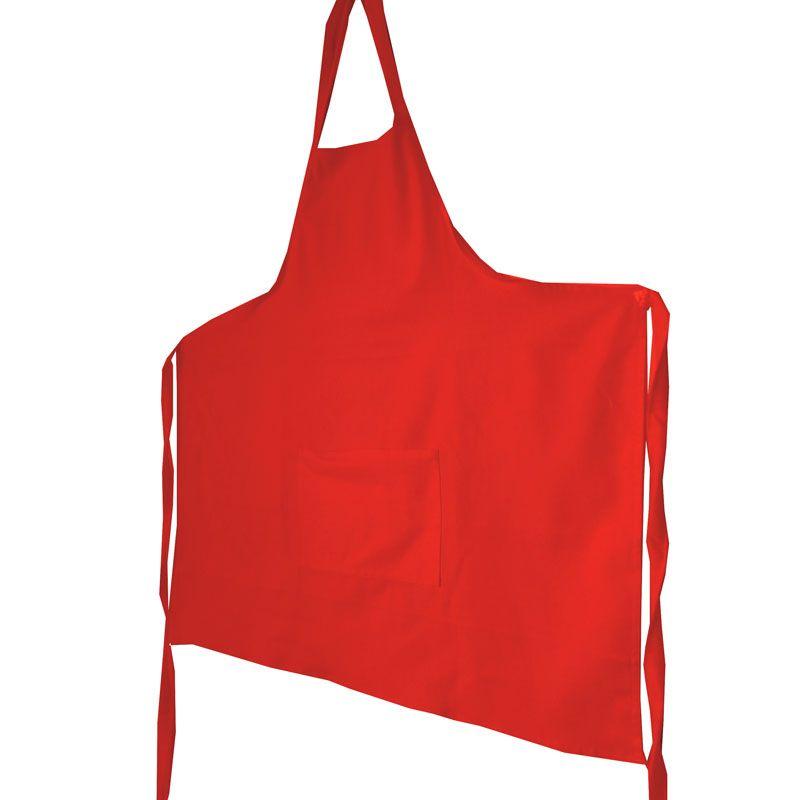 Avental Vermelho Liso De Brim Modelo Unissex  - RECANTO DA COSTURA