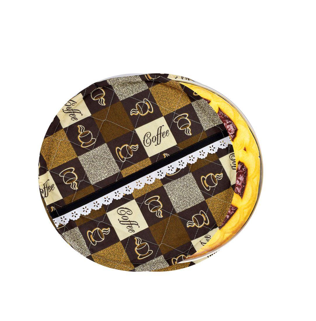 Capa De Assadeira Redonda Café  - RECANTO DA COSTURA