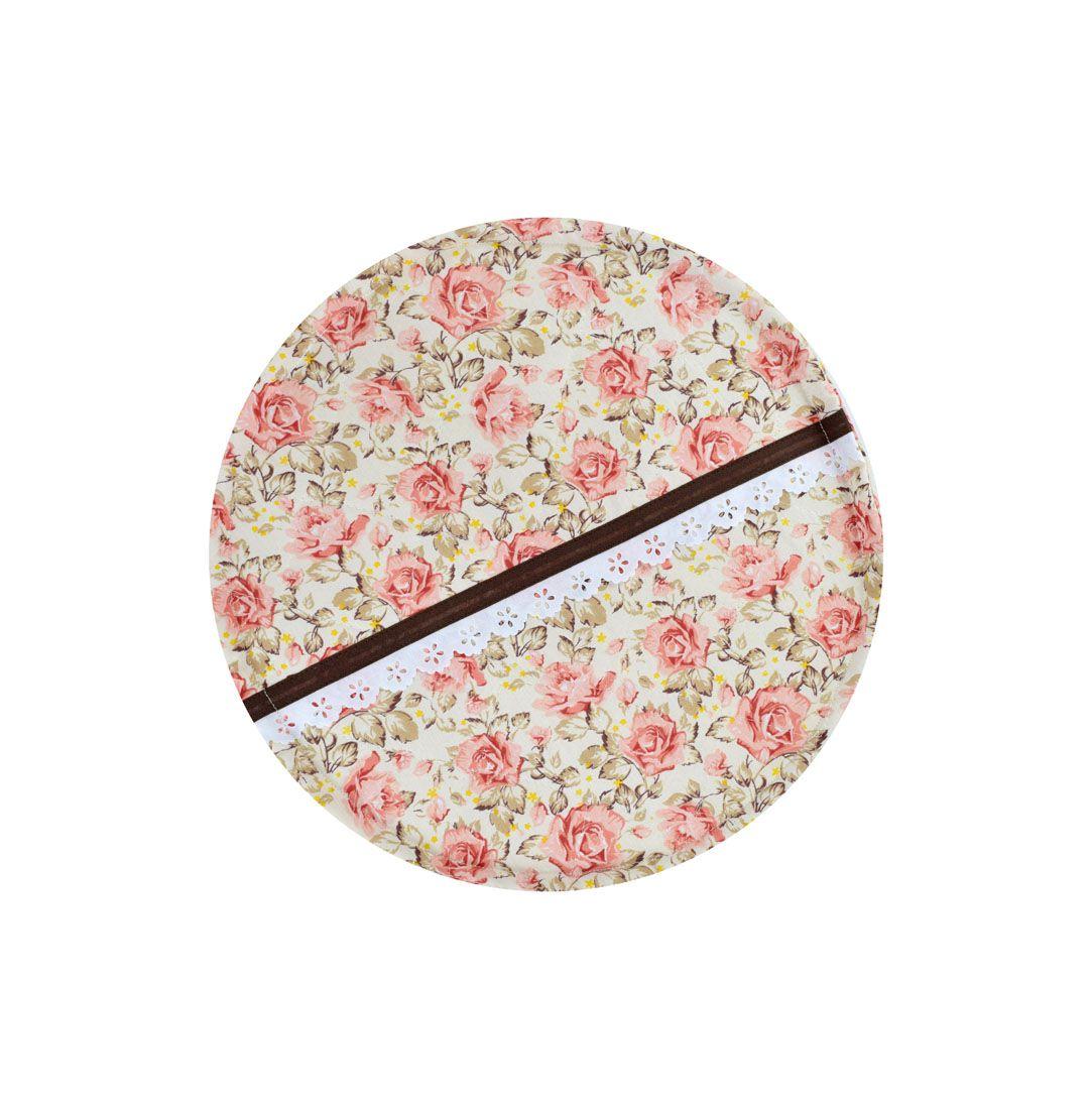 Capa De Assadeira Redonda Floral  - RECANTO DA COSTURA