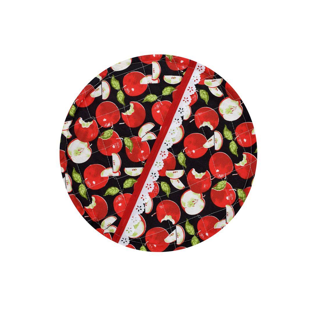 Capa De Assadeira Redonda Maçã  - RECANTO DA COSTURA