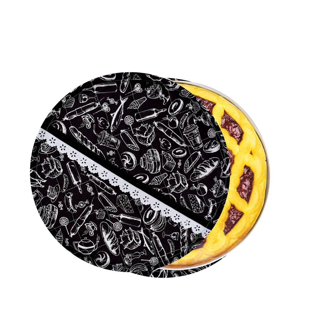 Capa De Assadeira Redonda Preto E Branco  - RECANTO DA COSTURA