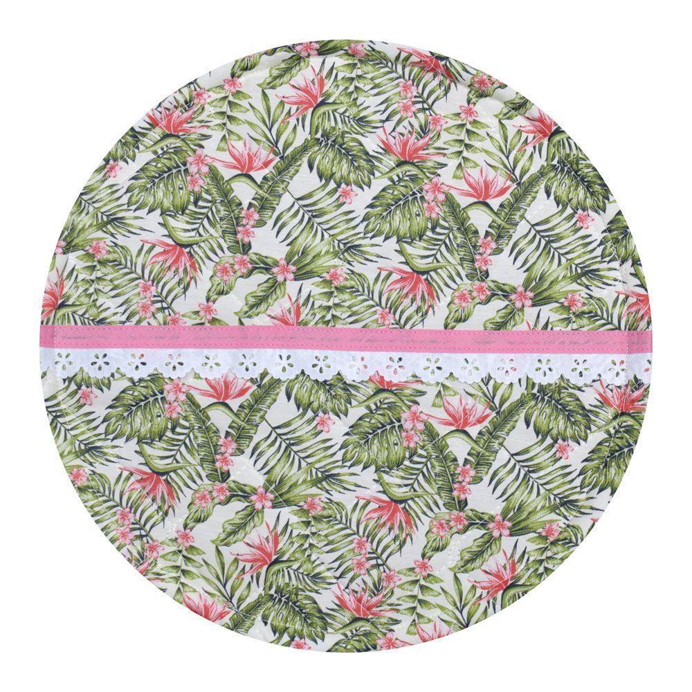 Capa De Assadeira Redonda Tropical  - RECANTO DA COSTURA