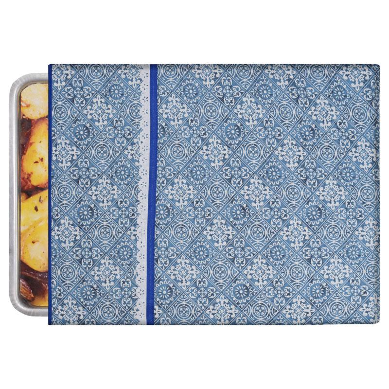 Capa De Assadeira Retangular Grande  Térmica Azul Azulejo   - RECANTO DA COSTURA