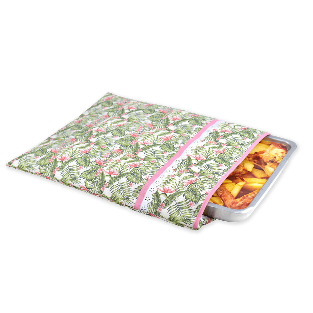 Capa De Assadeira Retangular Grande  Térmica Rosa Tropical  - RECANTO DA COSTURA