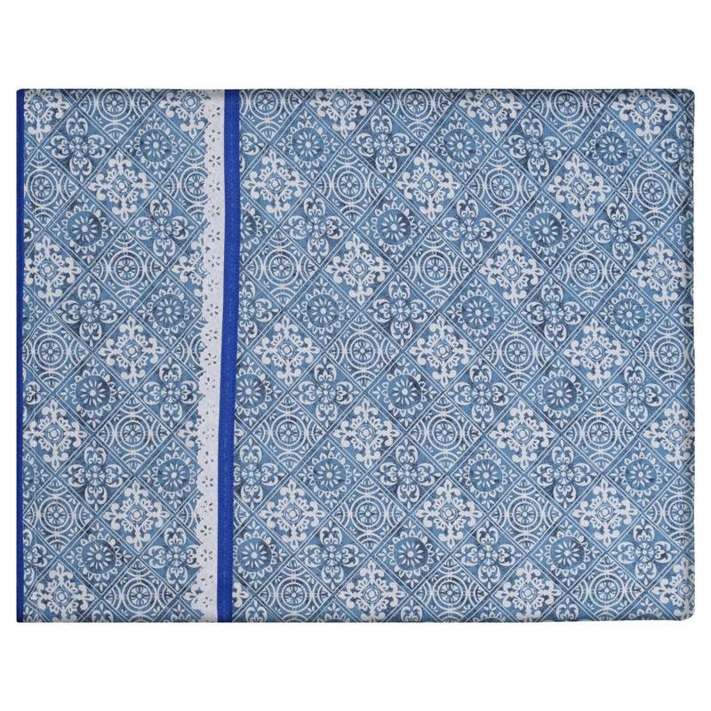 Capa De Assadeira Retangular Média Térmica Azul Azulejo   - RECANTO DA COSTURA