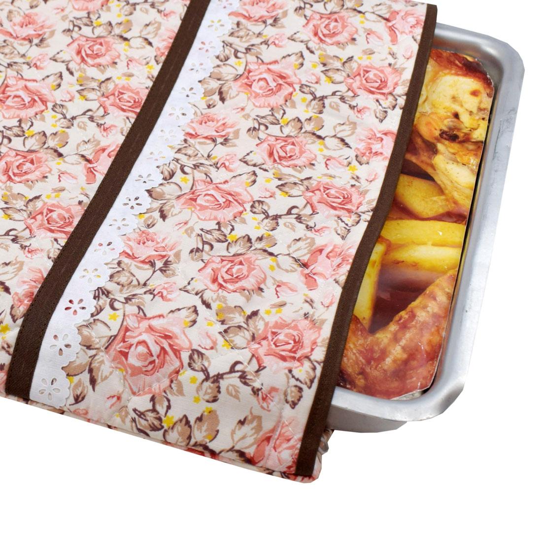 Capa De Assadeira Retangular Média Térmica Rosa Floral  - RECANTO DA COSTURA