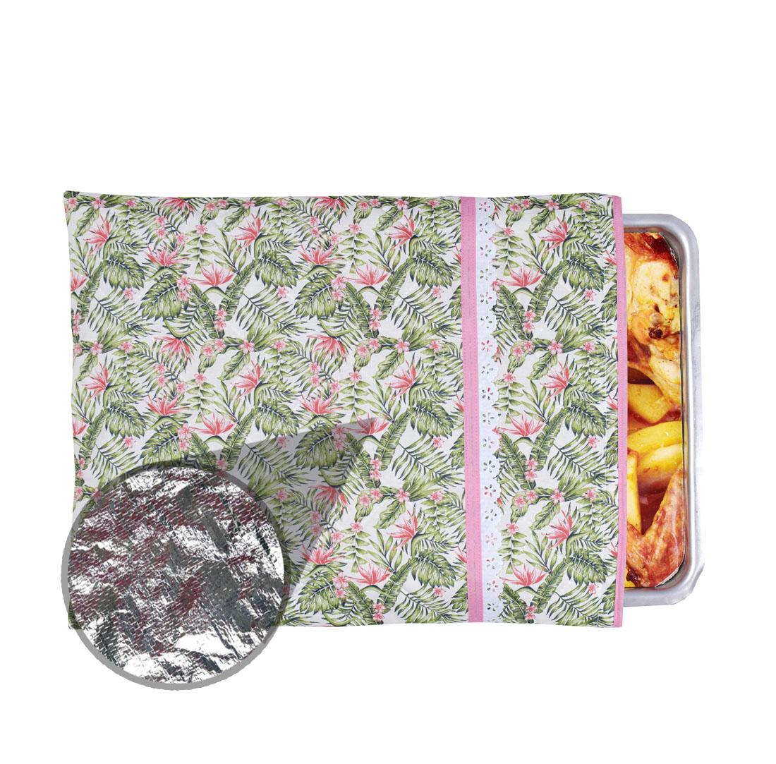 Capa De Assadeira Retangular Média Térmica Rosa Tropical  - RECANTO DA COSTURA