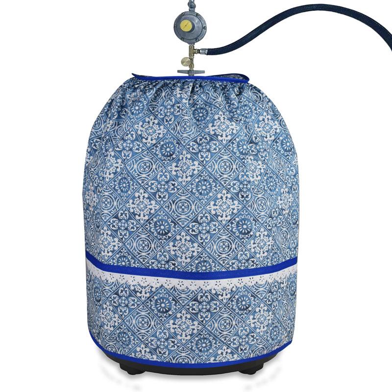 Capa De Botijão De Gás Azul Azulejo  - RECANTO DA COSTURA