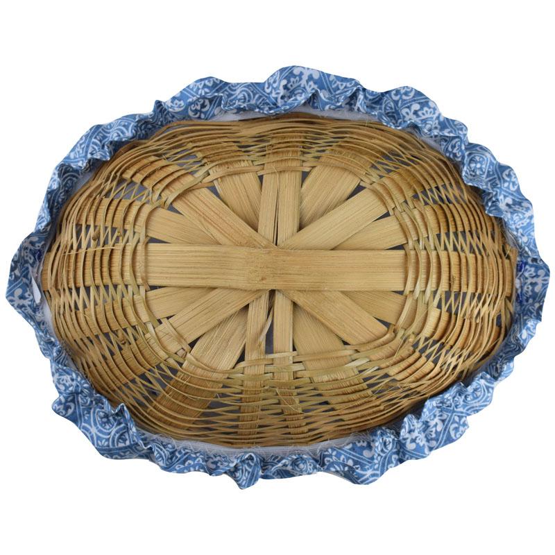 Cesta De Pão De Bambu Azul Azulejo  - RECANTO DA COSTURA