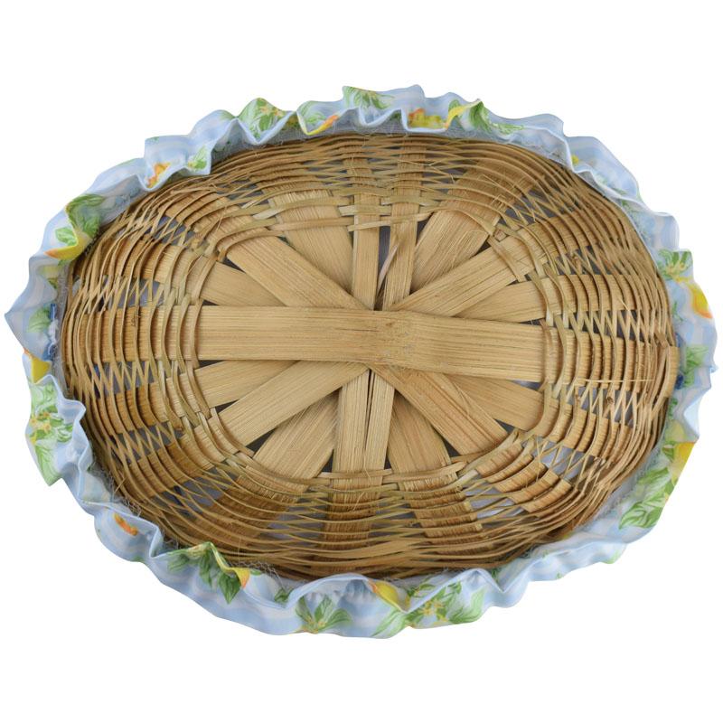 Cesta De Pão De Bambu Azul Limão  - RECANTO DA COSTURA